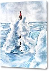 Картина Маяк и море