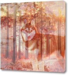 Постер Хаски в лесу