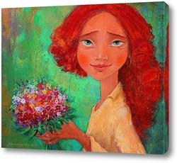 Картина Рижая с букетом