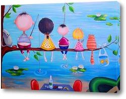 Картина На рыбалке всей семьей