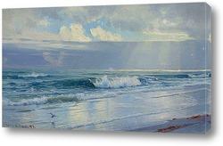 Волны вдоль берега моря (штат Род-Айленд)