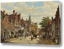 Картина Фигуры в голландском городе в солнечный день