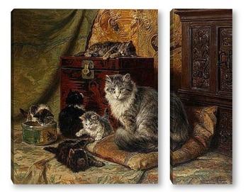 Модульная картина Кошка и котята играют