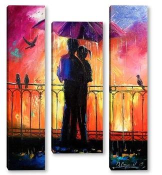 Модульная картина Влюбленные под зонтом