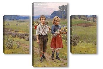 Модульная картина Дети на пути домой
