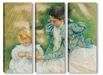 Модульная картина Мама играющая со своим ребенком, 1897