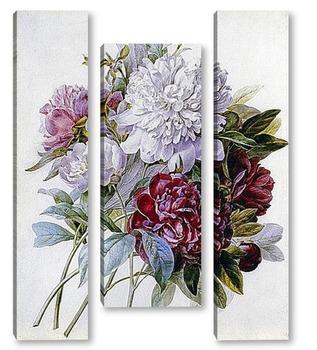 Модульная картина Букет с красными, белыми и розовыми пионами