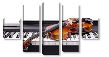 Модульная картина Скрипка на клавишах
