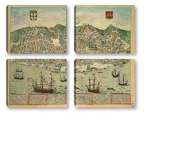 Модульная картина Карты городов_3