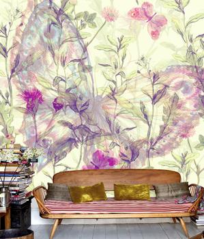 Фотообои Бабочка с полевыми цветами