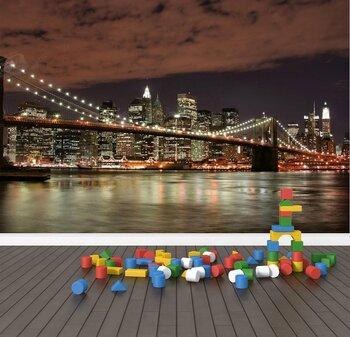 Фотообои Мост в огнях ночного Нью-Йорка