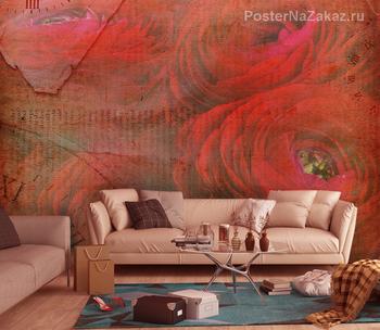 Фотообои Красная роза макро