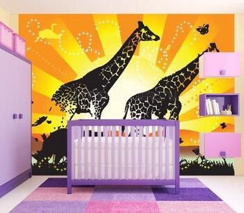 Фотообои Изображение двух жирафов, носорога и бабочек на фоне оранжевого солнца